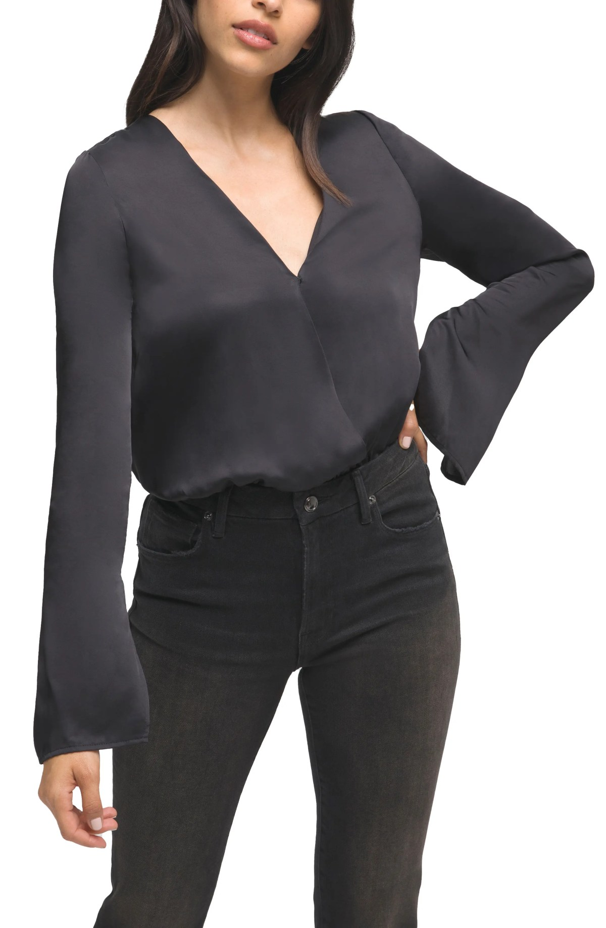 GOOD AMERICAN Wrap Front Long Sleeve Satin Bodysuit, Main, color, BLACK001