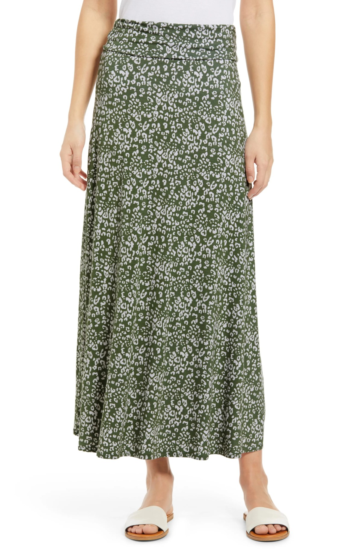 LOVEAPPELLA Roll Top Maxi Skirt, Main, color, SAGE/ IVORY