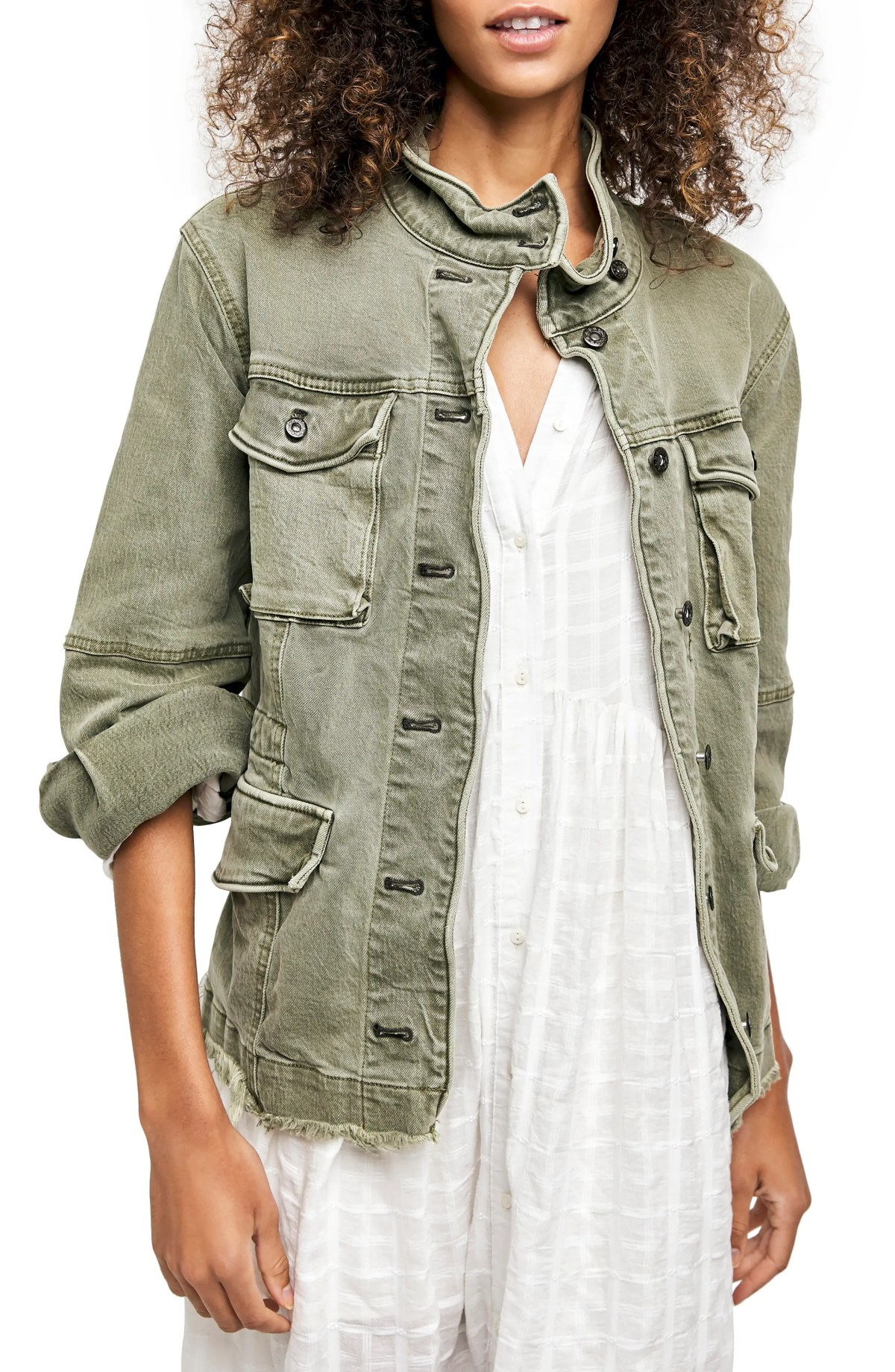 FREE PEOPLE Harley Military Jacket, Main, color, ARMY