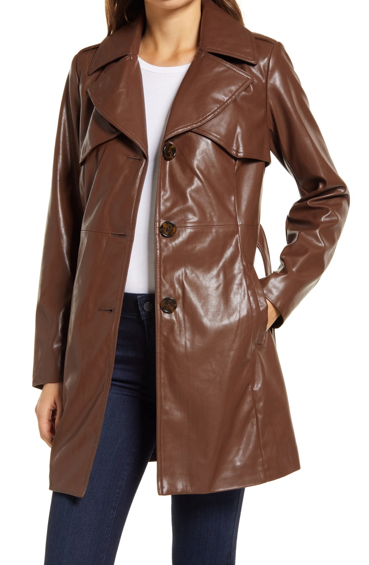 SAM EDELMAN Faux Leather Belted Trench Coat, Main, color, LUGGAGE