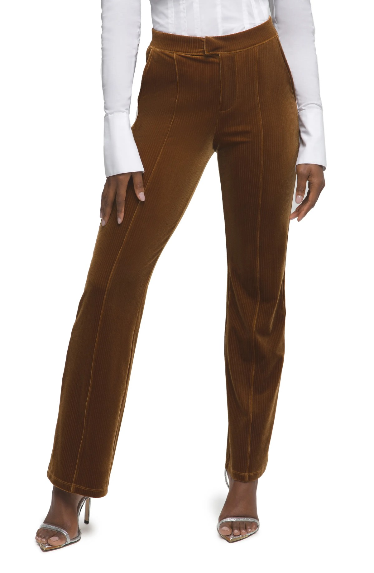 GOOD AMERICAN High Waist Striped Velour Pants, Main, color, COPPER001