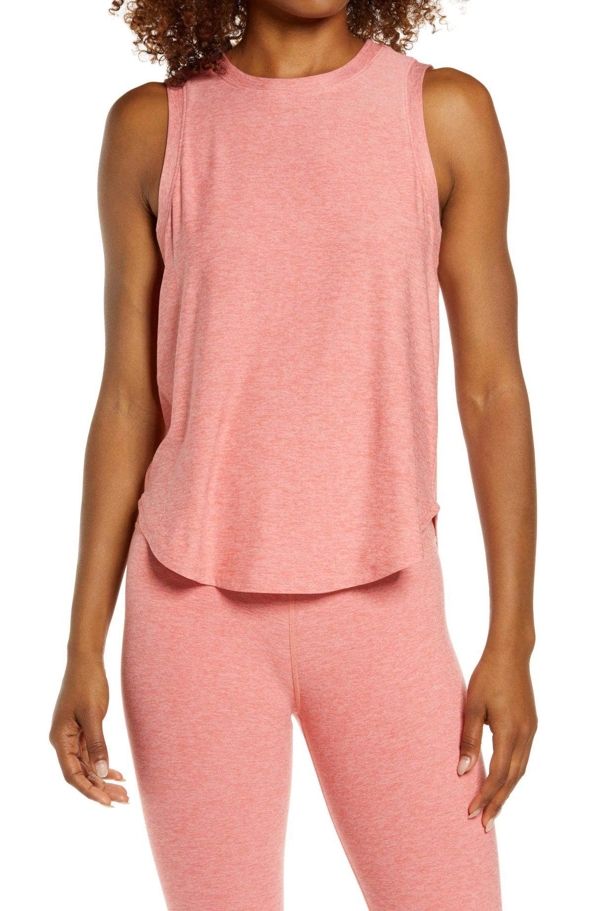 BEYOND YOGA On the Down Low Tank Top, Main, color, CHERRY BLOSSOM HEATHER