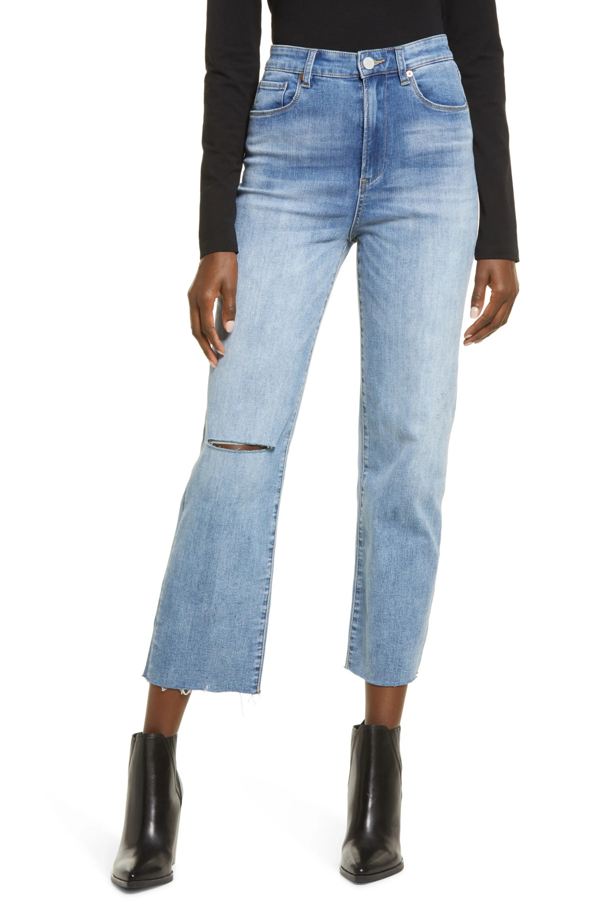 BLANKNYC Baxter Super High Waist Ripped Raw Hem Straight Leg Jeans, Main, color, LOVE TO SEE IT