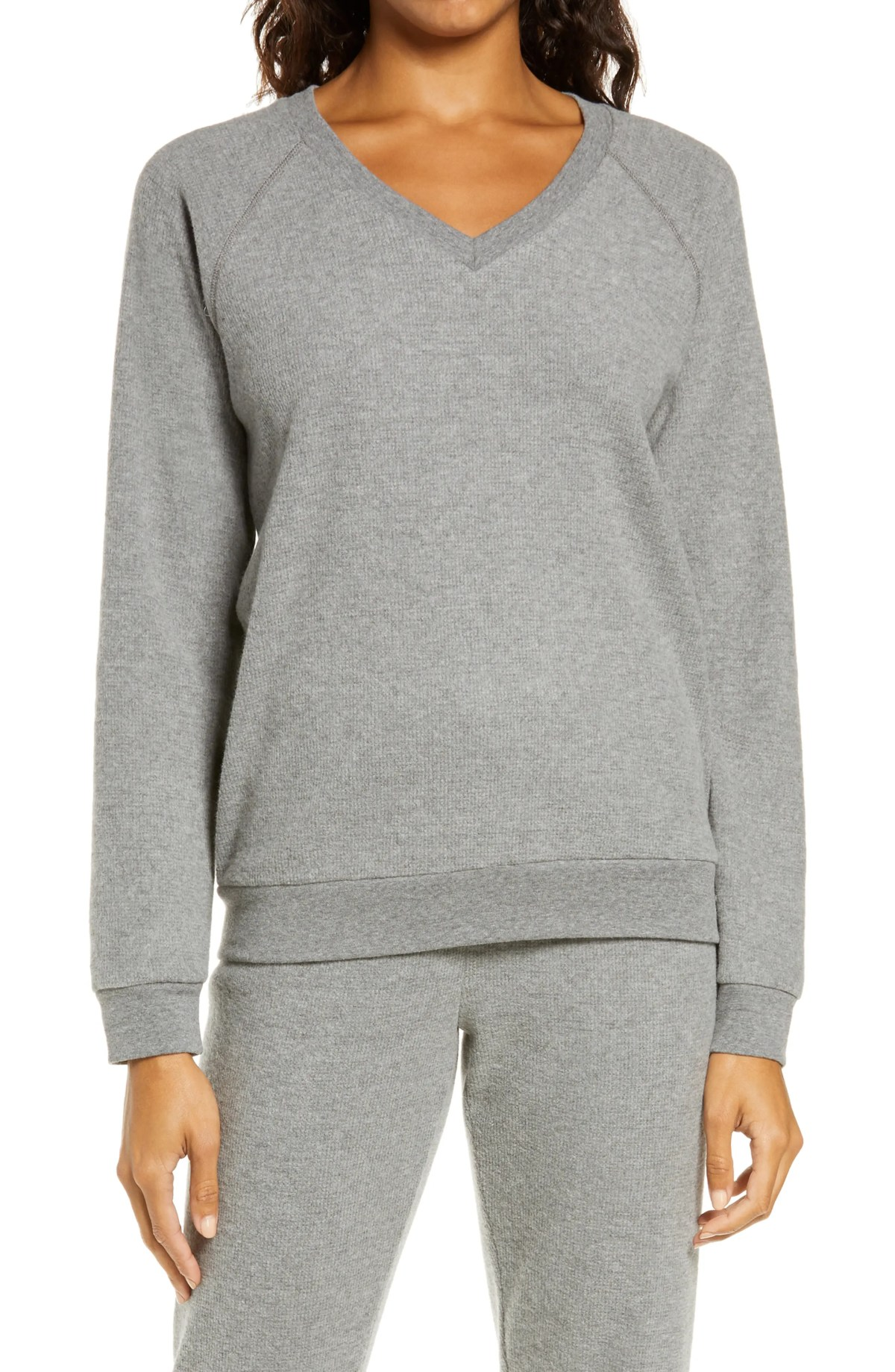 PJ SALVAGE Thermal V-Neck Pullover, Main, color, CHARCOAL