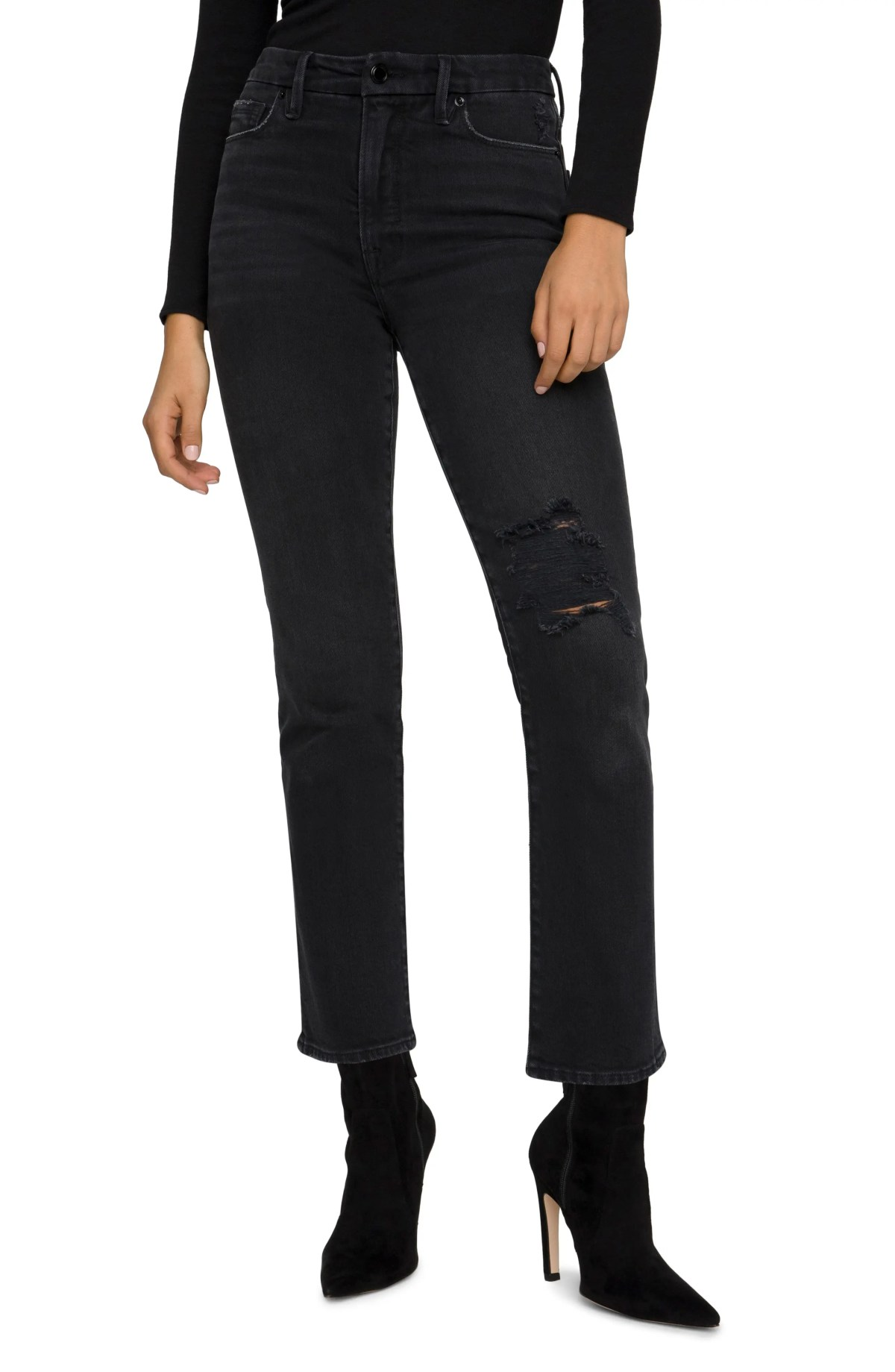 GOOD AMERICAN Good Classic Ripped High Waist Straight Leg Jeans, Main, color, BLACK
