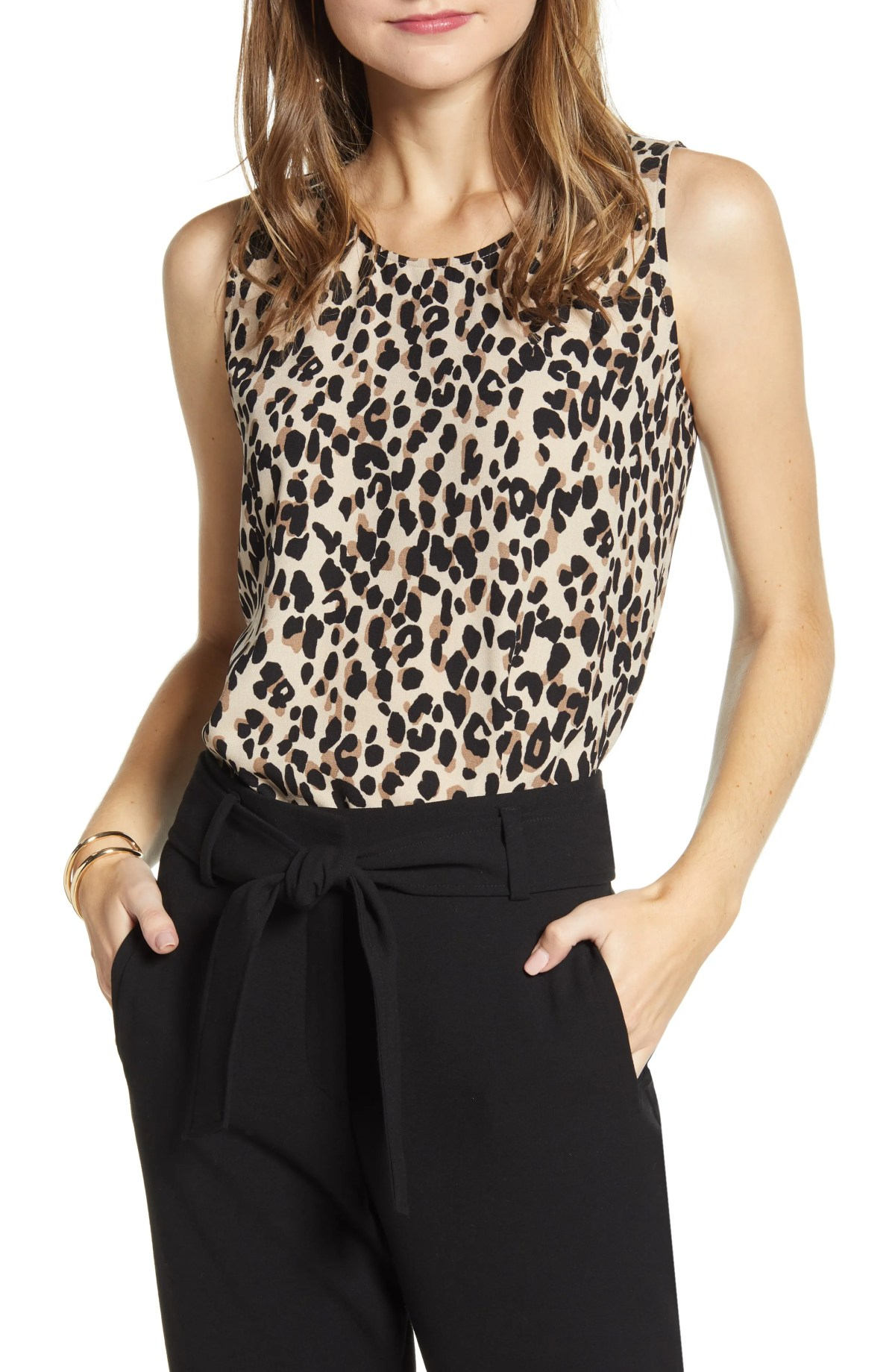 HALOGEN<SUP>®</SUP> Scoop Neck Woven Shell, Main, color, TAN ABSTRACT ANIMAL PRINT