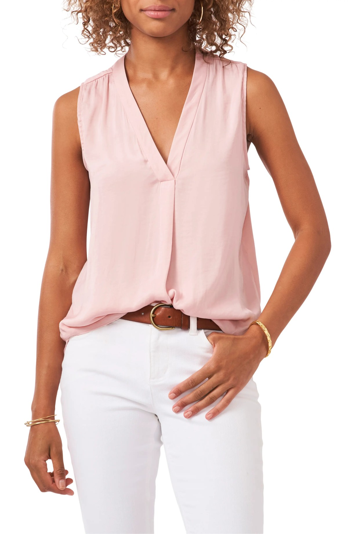 VINCE CAMUTO Rumpled Satin Blouse, Main, color, ROSEHIP