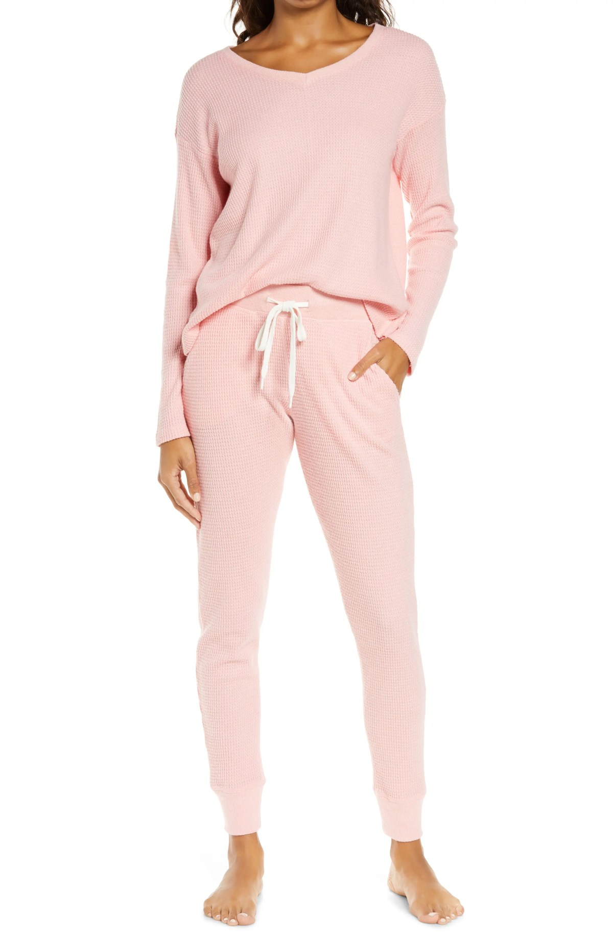 PAPINELLE Waffle Weave Pajamas, Main, color, PEONY