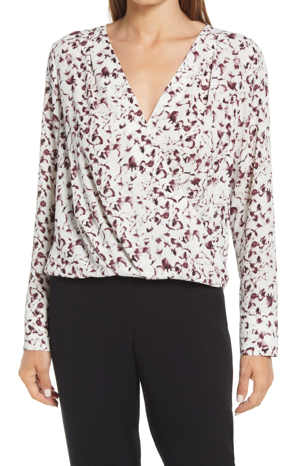 HALOGEN<SUP>®</SUP> Cross Front Blouse, Main, color, IVORY- GREY BLOOMS