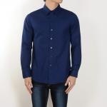 เสื้อเชิ้ตสีน้ำเงินเข้ม ผ้าอ๊อกฟอร์ด ทำจากคอตตอน100% ฟอกแล้ว <มี 3 Size>