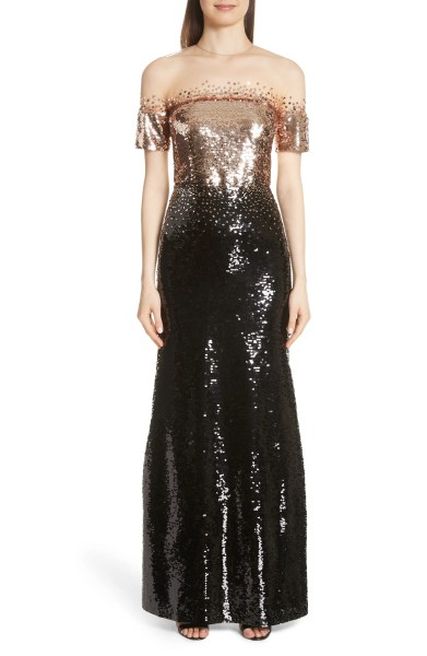 Women s Formal Dresses   Nordstrom Sachin   Babi Illusion Off the Shoulder Sequin Gown