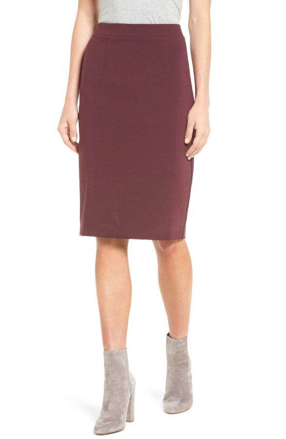 Main Image - Halogen® Ponte Pencil Skirt (Regular & Petite)