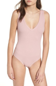 Rib Knit Bodysuit,                         Alternate,                         color, Pink Zephyr