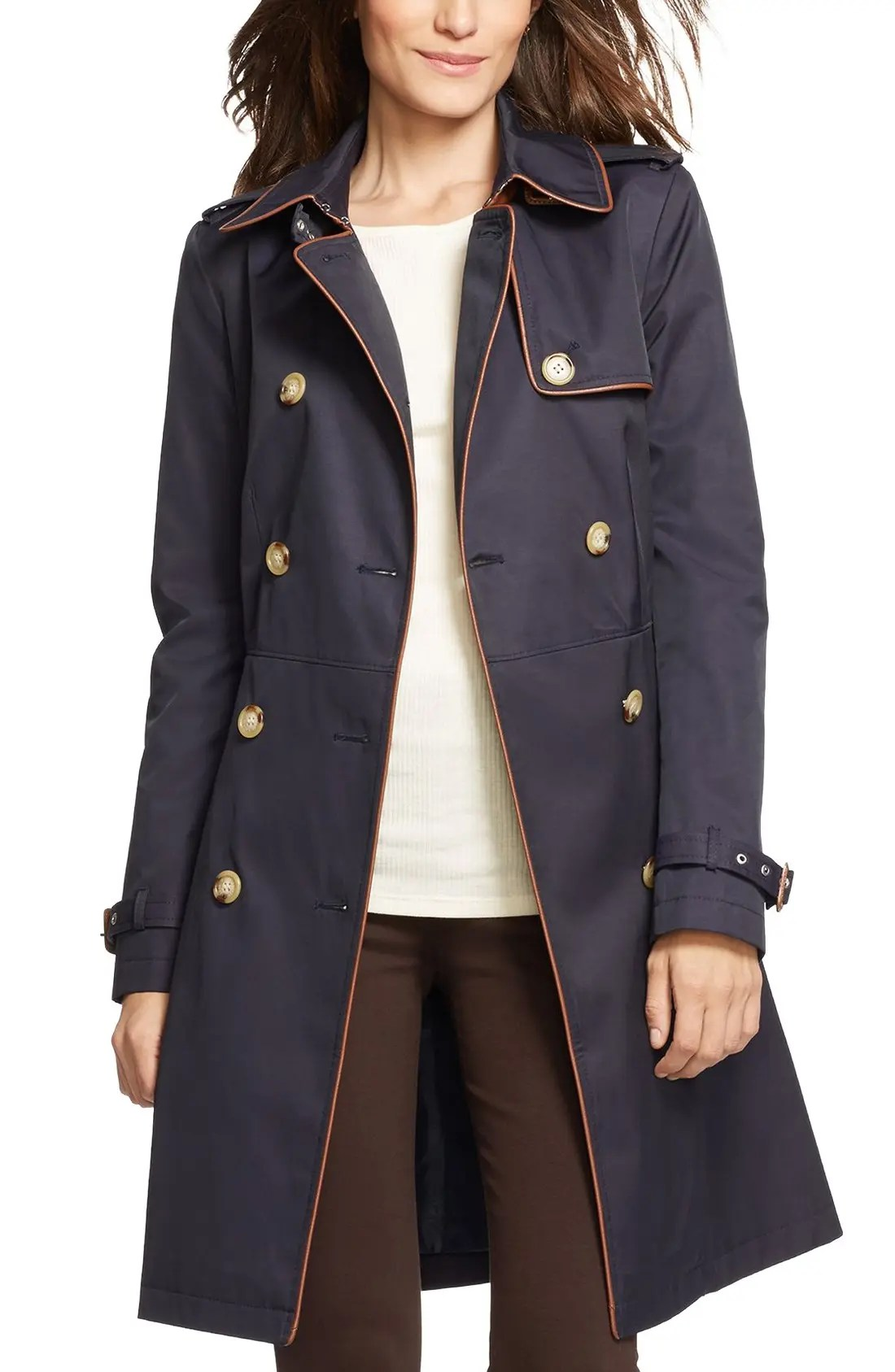 Main Image - Lauren Ralph Lauren Faux Leather Trim Trench Coat (Regular & Petite)