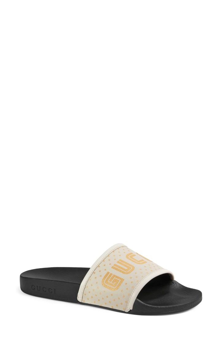 Gucci Pursuit Guccy Logo Slide Sandal (Women)
