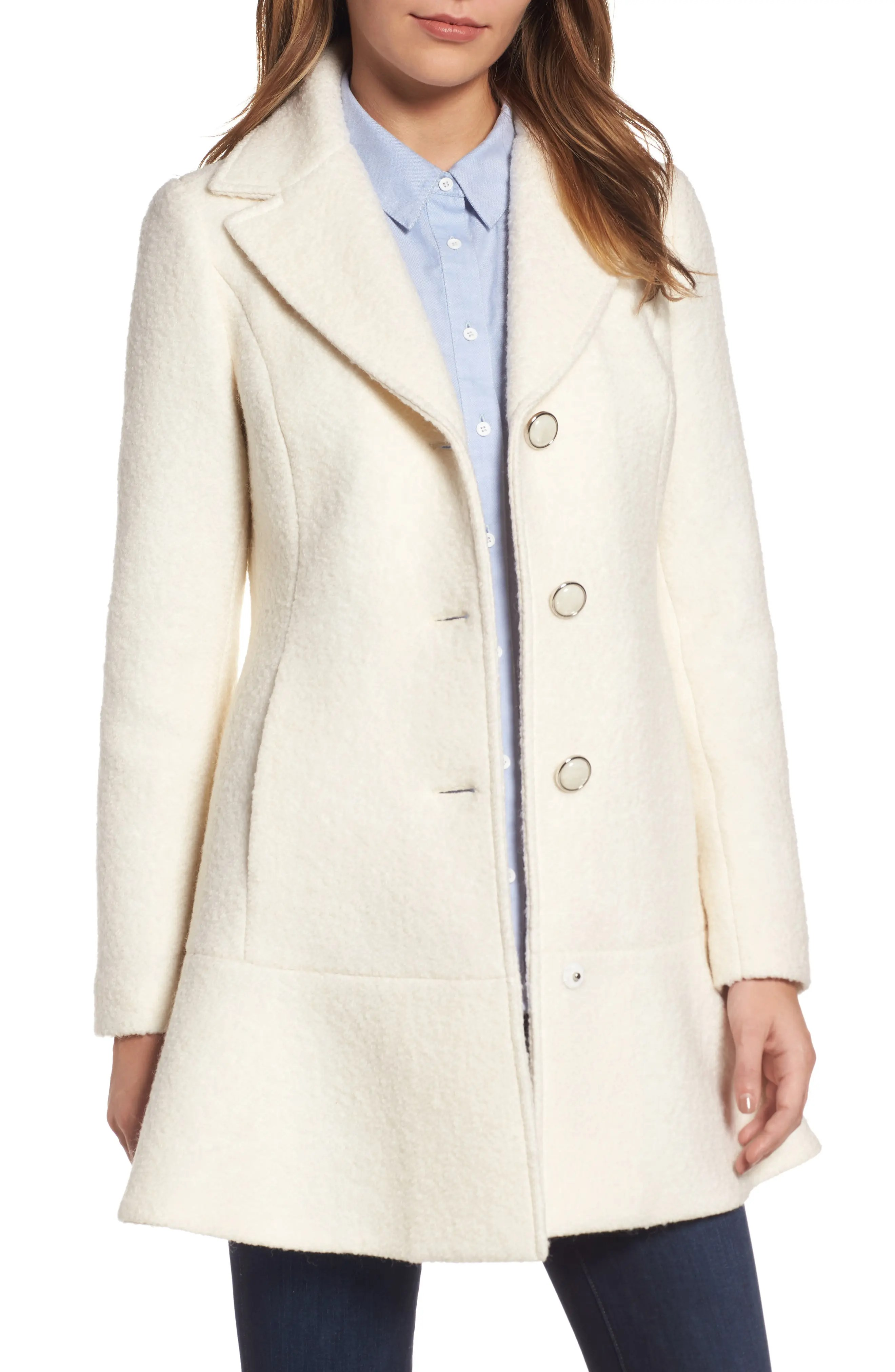 Main Image - kensie Notch Lapel Peplum Coat