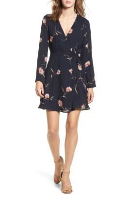 Elly Wrap Dress, Main, color, Navy Floral