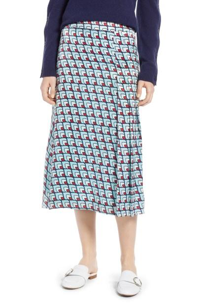 Pleat Detail Midi Skirt, Main, color, Blue Layered Squares