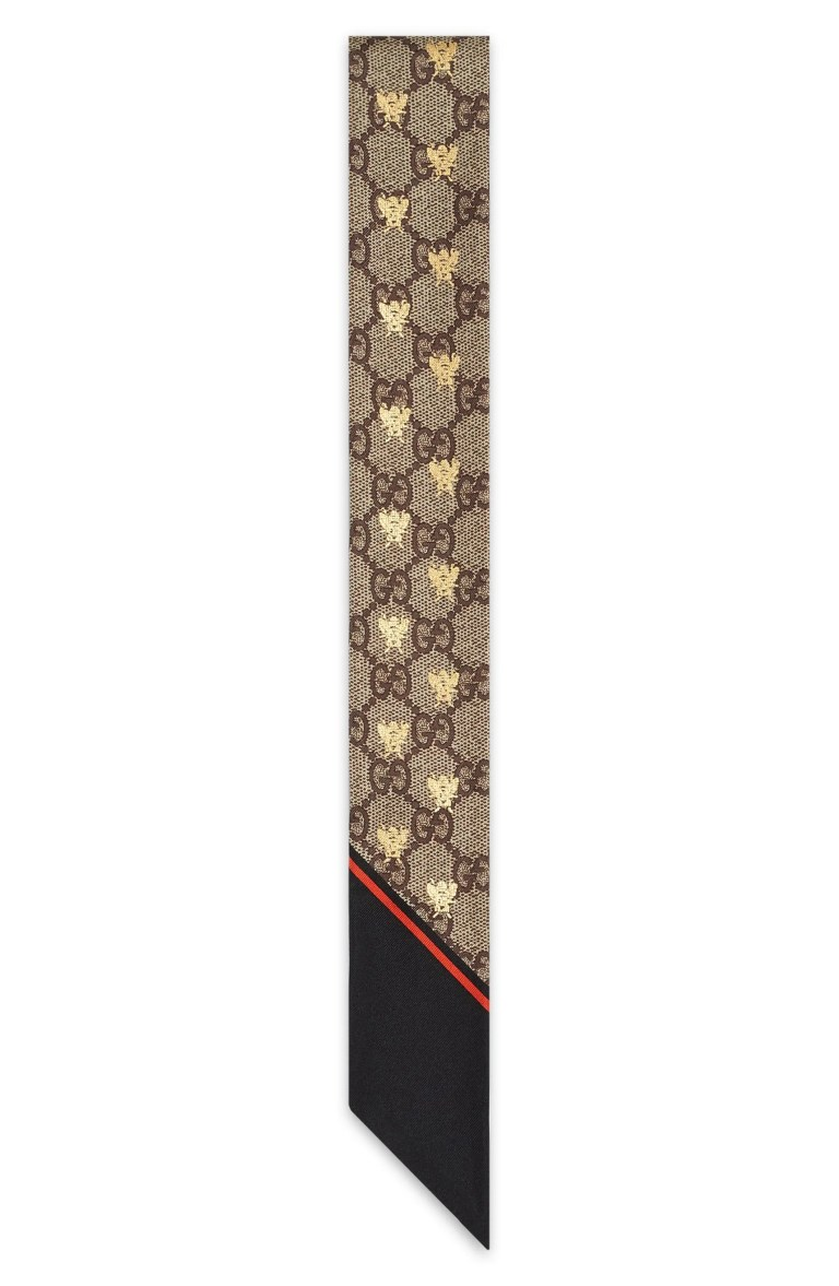 Gucci GG Bee Silk Neck Scarf