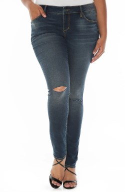 Main Image - SLINK Jeans Ripped Knee Stretch Skinny Jeans (Plus Size)