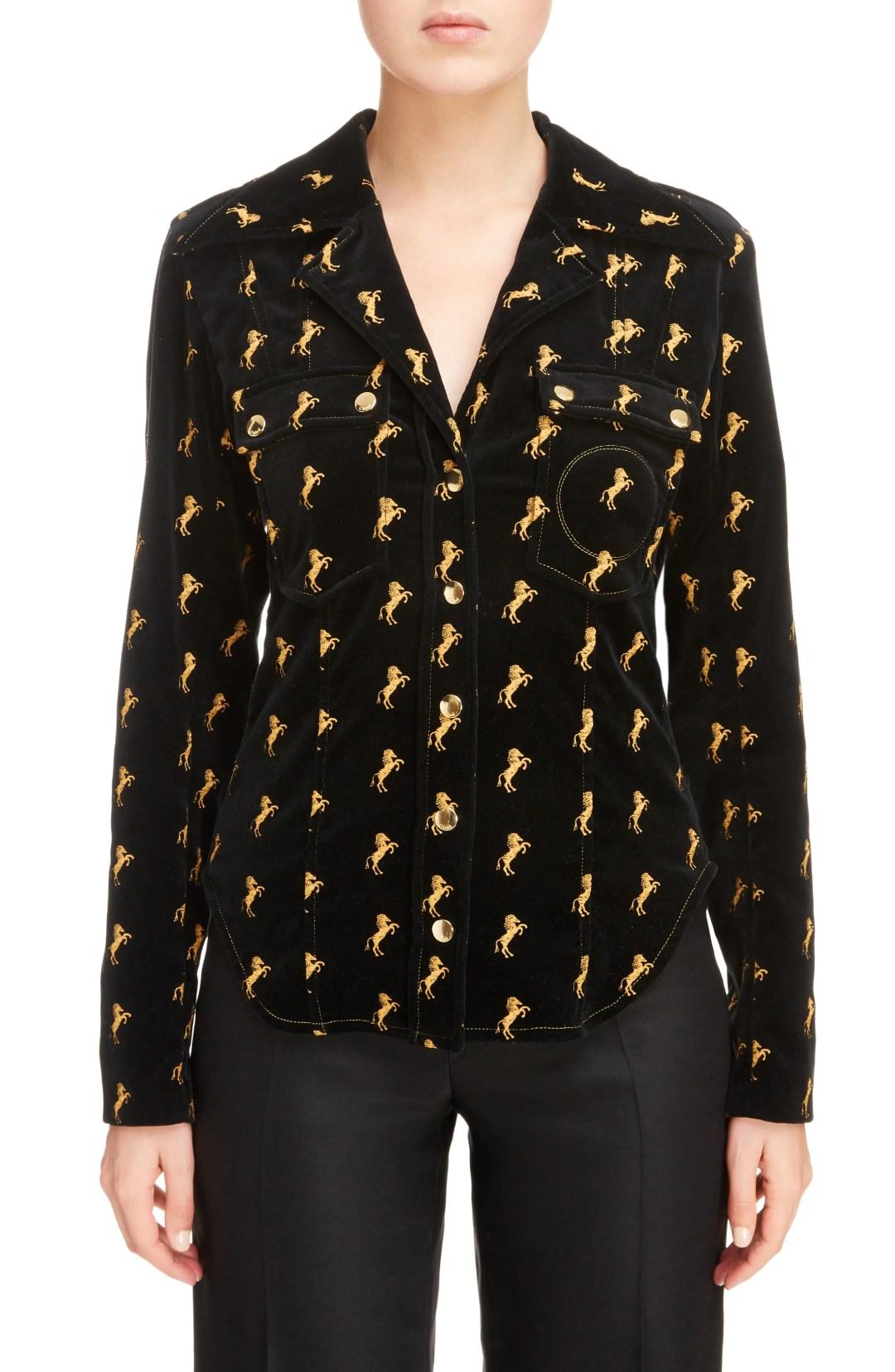 34eb5568481e03 Chloé Horse Embroidered Velvet Jacket