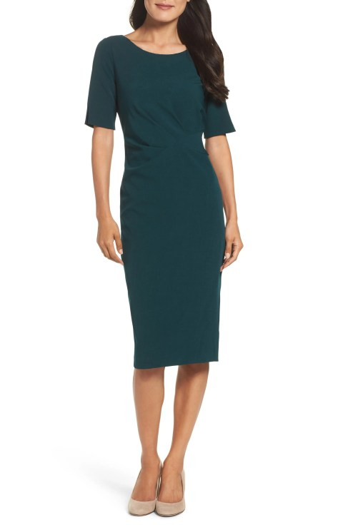Adrianna Papell Crepe Midi Dress
