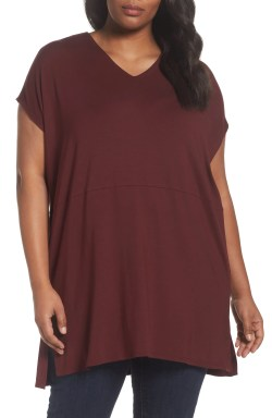 Main Image - Eileen Fisher Jersey V-Neck Tunic (Plus Size)