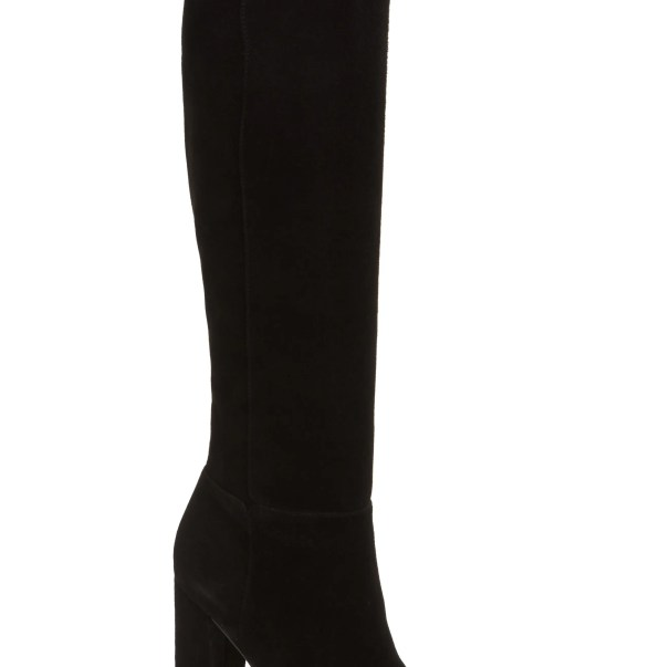 Caprice Knee-High Boot, Main, color, Black Suede
