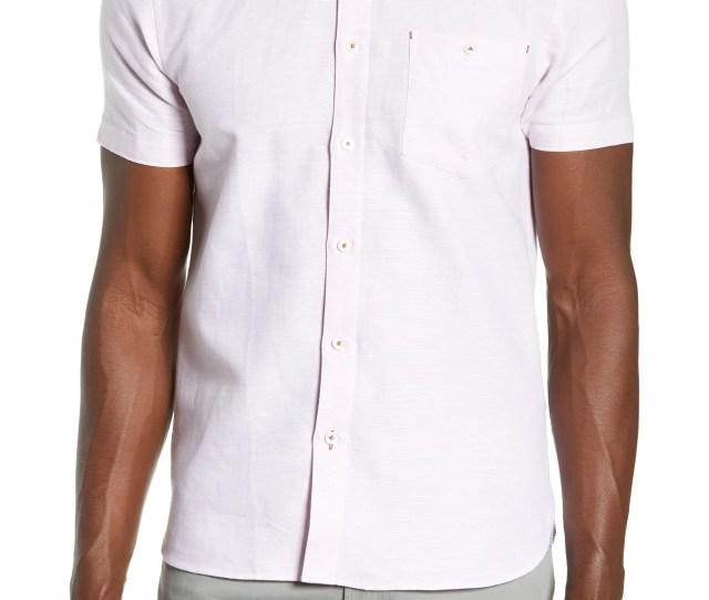 Ted Baker London Graphit Slim Fit Cotton Linen Sport Shirt