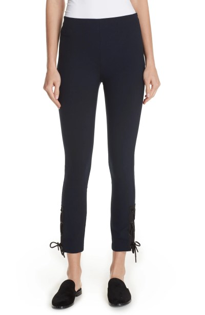 Simone Lace-Up Pants, Main, color, Navy