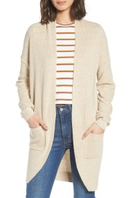 Stitch Curve Hem Cardigan,                         Main,                         color, Beige Oatmeal Medium Heather