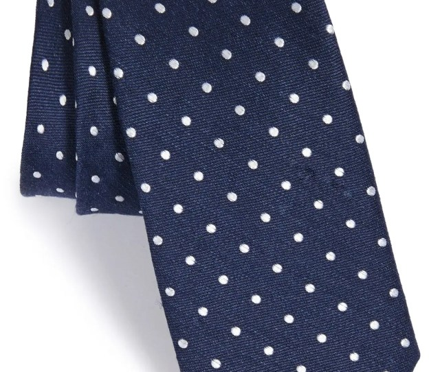 The Tie Bar Dot Silk Linen Tie
