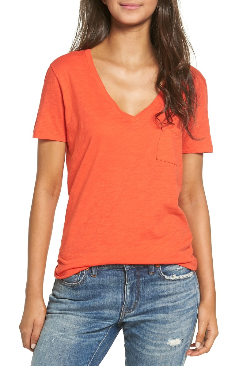 Madewell 'Whisper' Cotton V-Neck Pocket Tee | Nordstrom