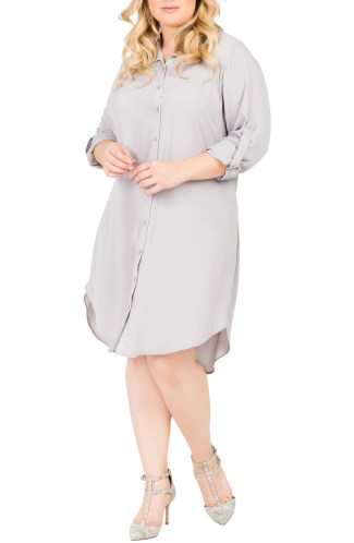 Main Image - Standards & Practices Solenn Roll Sleeve Georgette Shirtdress (Plus Size)