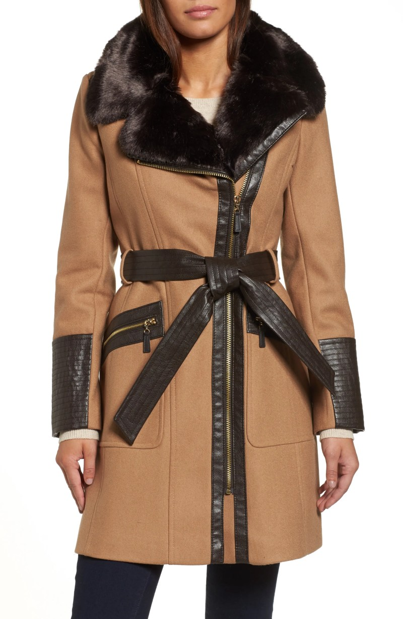 Main Image - Via Spiga Faux Leather & Faux Fur Trim Belted Wool Blend Coat