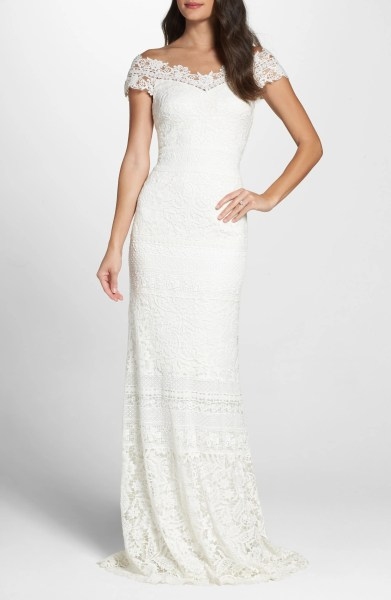 Wedding Dresses   Bridal Gowns   Nordstrom Tadashi Shoji Off the Shoulder Illusion Lace Gown