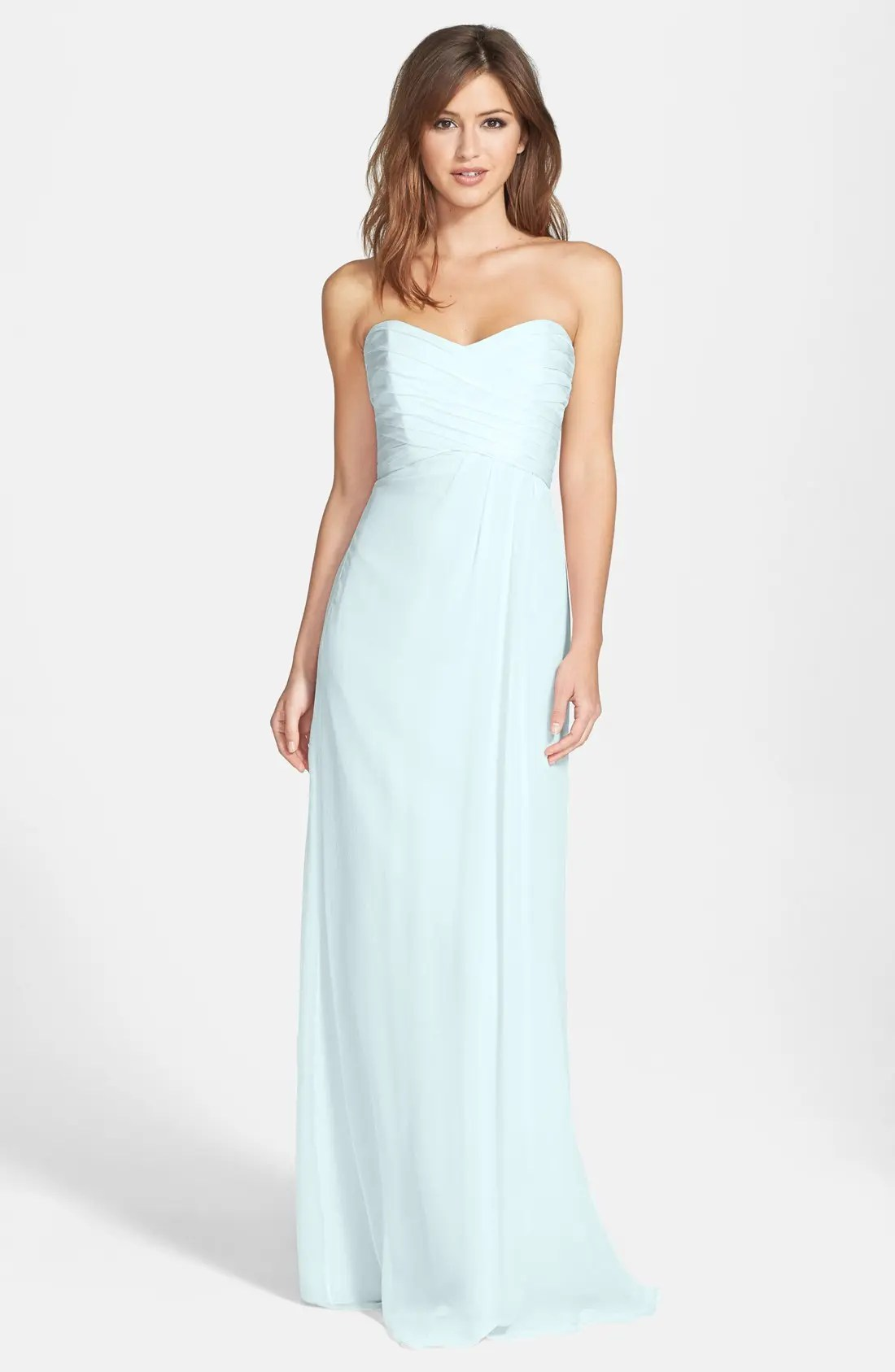 Women s Amsale Dresses   Nordstrom Amsale Strapless Crinkle Chiffon Gown