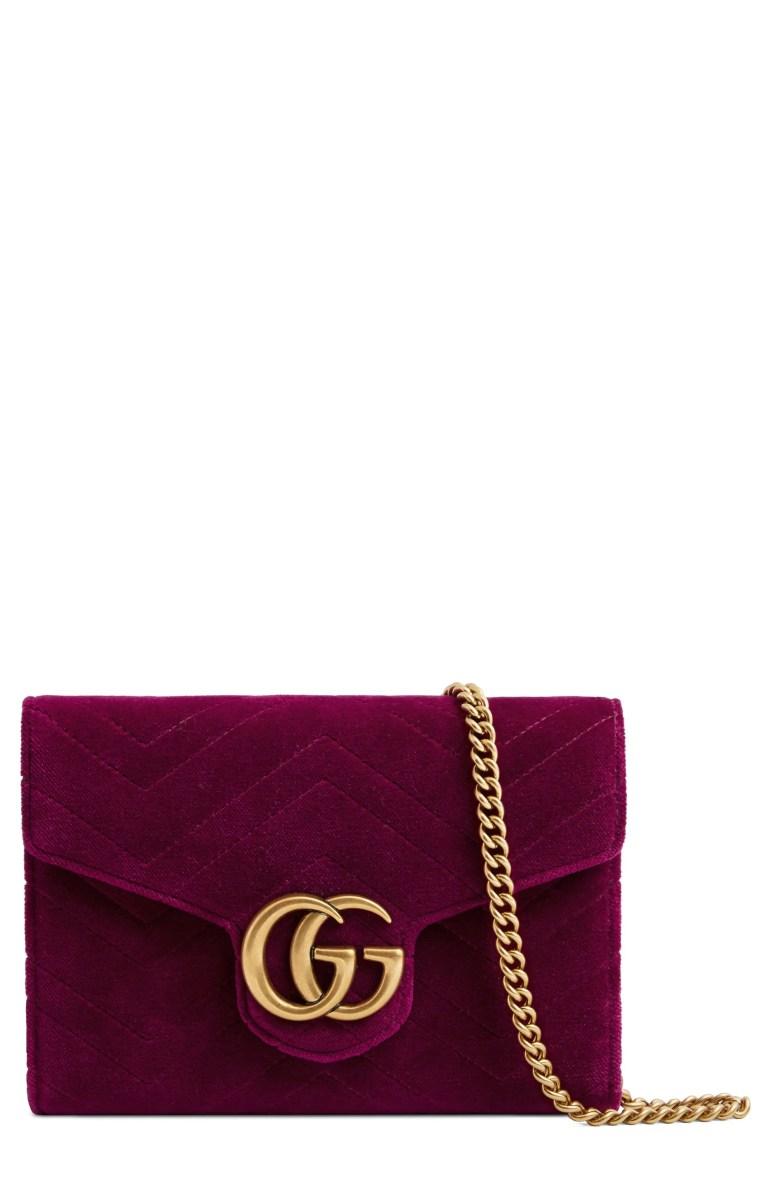 Gucci GG Marmont 2.0 Matelassé Velvet Wallet on a Chain