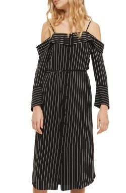 Main Image - Topshop Pinstripe Midi Shirtdress