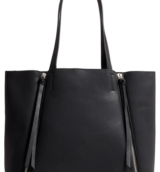 Leigh Faux Leather Tote & Zip Pouch,                         Main,                         color, Black