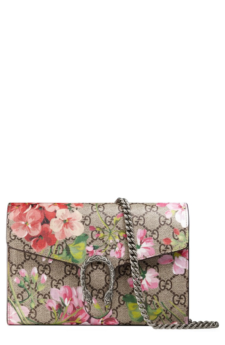Gucci Blooms GG Supreme Canvas Wallet on a Chain