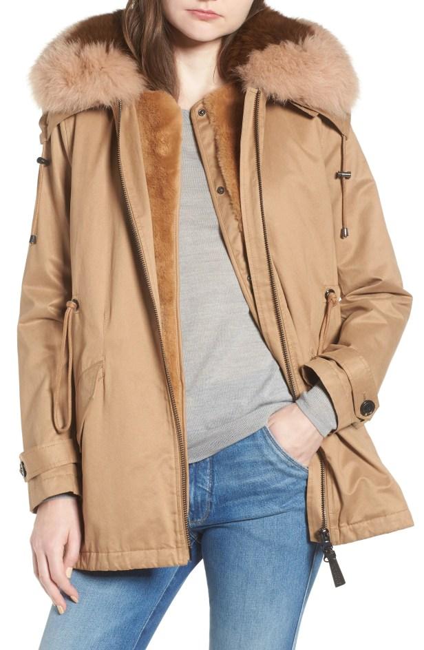 Two-Tone Faux Fur Vest with Parka, Main, color, Khaki
