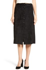 Main Image - Catherine Catherine Malandrino 'Emeric' Button Front Faux Suede Skirt