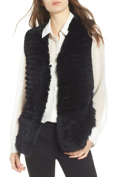 Genuine Rabbit & Fox Fur Vest, Main, color, Black