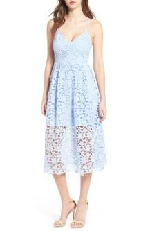 Lace Midi Dress, Main, color, Periwinkle
