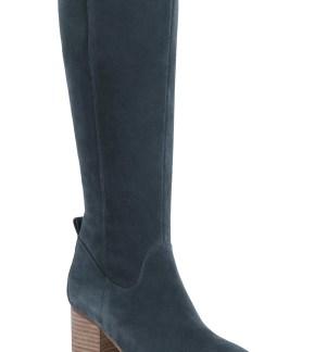 Nicola Waterproof Knee High Boot, Main, color, Dark Grey Suede