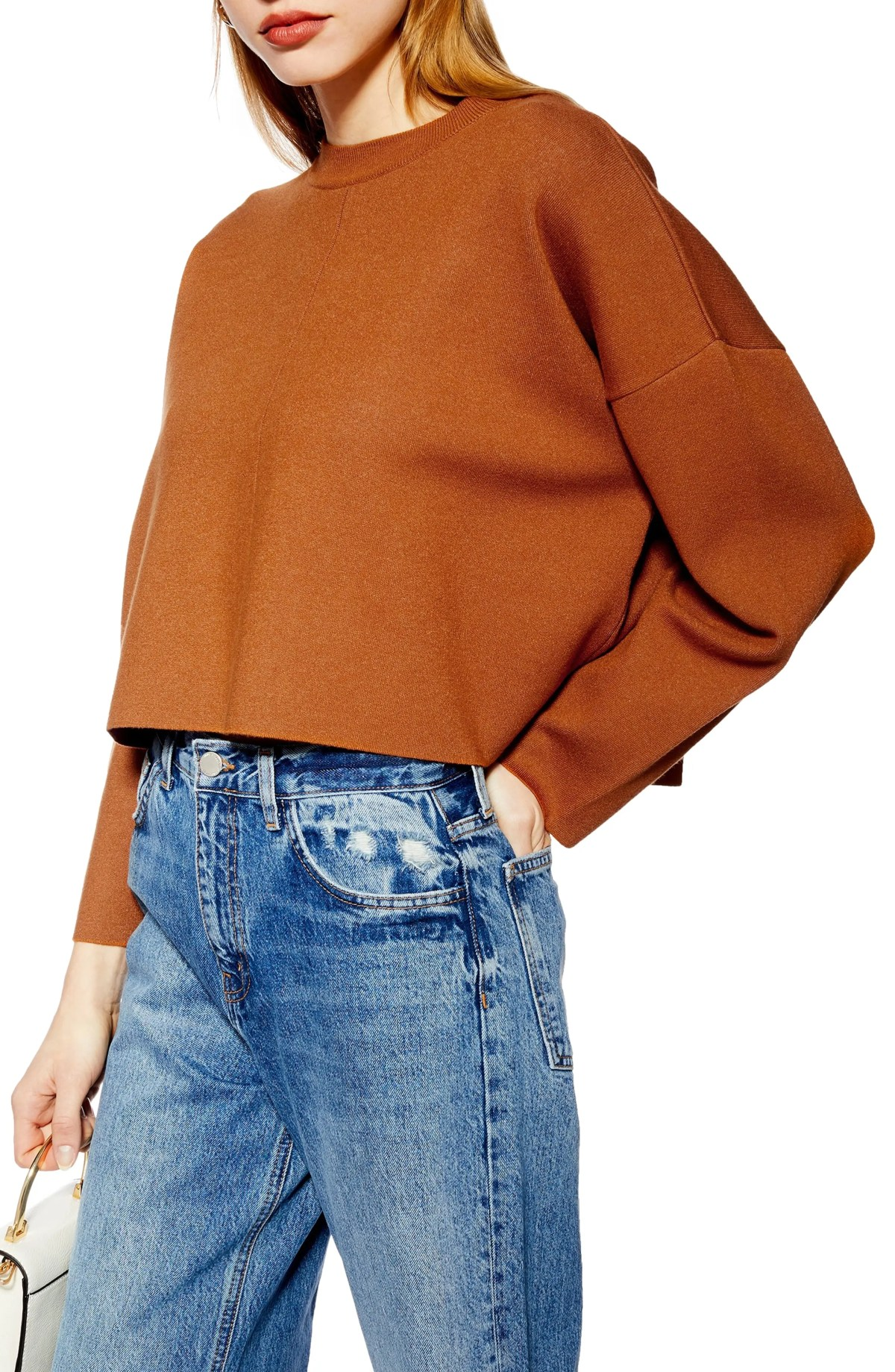 TOPSHOP Bonded Boxy Cropped Sweater, Main, color, BROWN MULTI