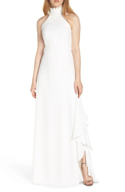 Lace Neck Crepe Evening Dress,                         Main,                         color, WHITE