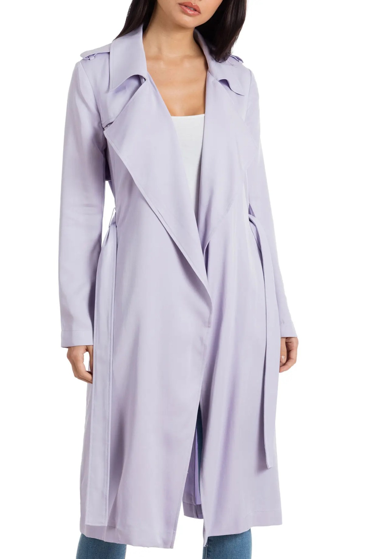 BADGLEY MISCHKA COLLECTION Badgley Mischka Faux Leather Trim Long Trench Coat, Main, color, LAVENDAR