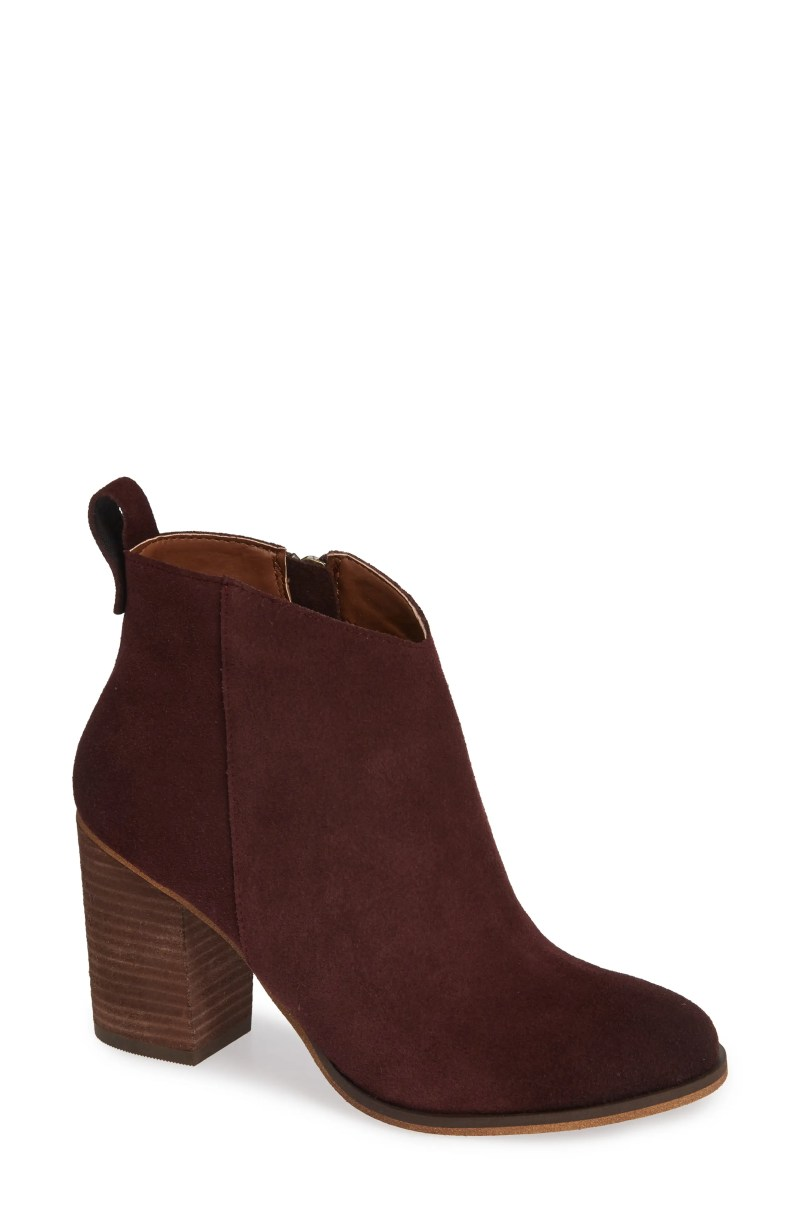Lance Block Heel Bootie, Main, color, BURGUNDY SUEDE